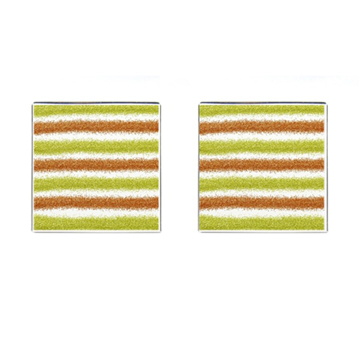 Metallic Gold Glitter Stripes Cufflinks (Square)