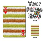 Metallic Gold Glitter Stripes Playing Cards 54 Designs  Front - Heart10