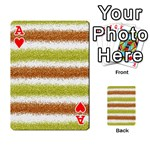 Metallic Gold Glitter Stripes Playing Cards 54 Designs  Front - HeartA