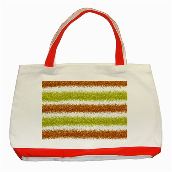Metallic Gold Glitter Stripes Classic Tote Bag (Red)