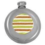 Metallic Gold Glitter Stripes Round Hip Flask (5 oz) Front