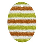 Metallic Gold Glitter Stripes Oval Ornament (Two Sides) Front