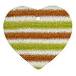 Metallic Gold Glitter Stripes Heart Ornament (2 Sides) Front