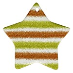 Metallic Gold Glitter Stripes Star Ornament (Two Sides)  Back