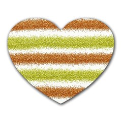 Metallic Gold Glitter Stripes Heart Mousepads