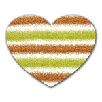 Metallic Gold Glitter Stripes Heart Mousepads Front