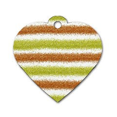 Metallic Gold Glitter Stripes Dog Tag Heart (Two Sides)