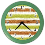Metallic Gold Glitter Stripes Color Wall Clocks Front