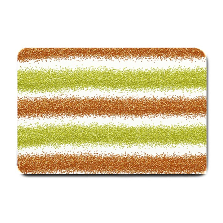 Metallic Gold Glitter Stripes Small Doormat