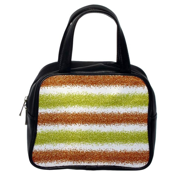 Metallic Gold Glitter Stripes Classic Handbags (One Side)