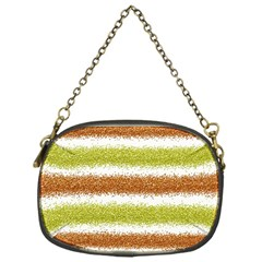 Metallic Gold Glitter Stripes Chain Purses (One Side)