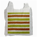 Metallic Gold Glitter Stripes Recycle Bag (Two Side)  Front