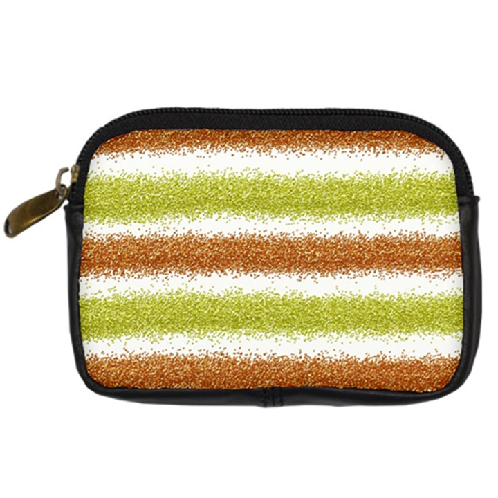 Metallic Gold Glitter Stripes Digital Camera Cases