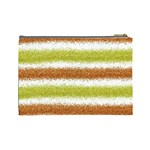 Metallic Gold Glitter Stripes Cosmetic Bag (Large)  Back