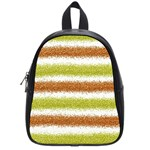 Metallic Gold Glitter Stripes School Bags (Small)  Front