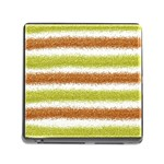 Metallic Gold Glitter Stripes Memory Card Reader (Square) Front