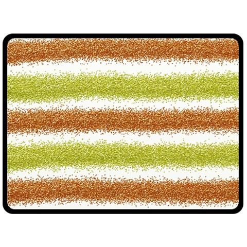 Metallic Gold Glitter Stripes Fleece Blanket (Large)