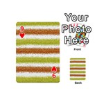 Metallic Gold Glitter Stripes Playing Cards 54 (Mini)  Front - Heart9