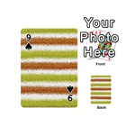 Metallic Gold Glitter Stripes Playing Cards 54 (Mini)  Front - Spade9