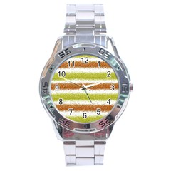 Metallic Gold Glitter Stripes Stainless Steel Analogue Watch