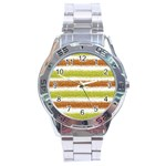 Metallic Gold Glitter Stripes Stainless Steel Analogue Watch Front