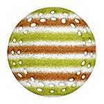 Metallic Gold Glitter Stripes Ornament (Round Filigree)  Front