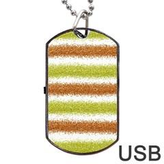 Metallic Gold Glitter Stripes Dog Tag USB Flash (Two Sides)