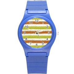 Metallic Gold Glitter Stripes Round Plastic Sport Watch (S)