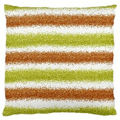Metallic Gold Glitter Stripes Large Cushion Case (One Side)