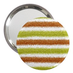 Metallic Gold Glitter Stripes 3  Handbag Mirrors