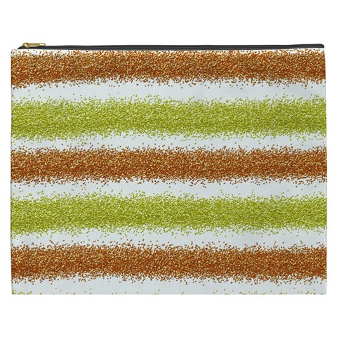Metallic Gold Glitter Stripes Cosmetic Bag (XXXL)