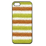 Metallic Gold Glitter Stripes Apple iPhone 5 Seamless Case (Black) Front