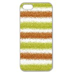 Metallic Gold Glitter Stripes Apple Seamless iPhone 5 Case (Clear) Front