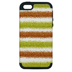 Metallic Gold Glitter Stripes Apple iPhone 5 Hardshell Case (PC+Silicone)