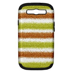 Metallic Gold Glitter Stripes Samsung Galaxy S III Hardshell Case (PC+Silicone)