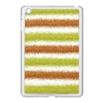 Metallic Gold Glitter Stripes Apple iPad Mini Case (White) Front
