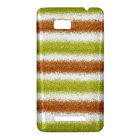 Metallic Gold Glitter Stripes HTC One SU T528W Hardshell Case