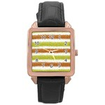 Metallic Gold Glitter Stripes Rose Gold Leather Watch  Front
