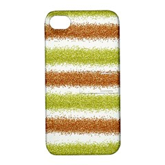 Metallic Gold Glitter Stripes Apple iPhone 4/4S Hardshell Case with Stand