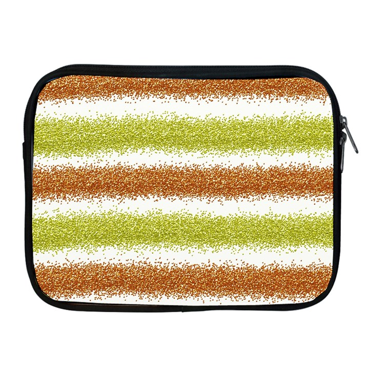 Metallic Gold Glitter Stripes Apple iPad 2/3/4 Zipper Cases
