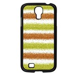 Metallic Gold Glitter Stripes Samsung Galaxy S4 I9500/ I9505 Case (Black) Front