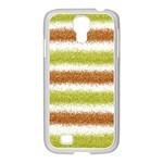 Metallic Gold Glitter Stripes Samsung GALAXY S4 I9500/ I9505 Case (White) Front