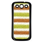 Metallic Gold Glitter Stripes Samsung Galaxy S3 Back Case (Black) Front