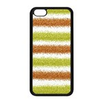Metallic Gold Glitter Stripes Apple iPhone 5C Seamless Case (Black) Front