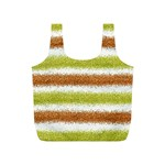 Metallic Gold Glitter Stripes Full Print Recycle Bags (S)  Front