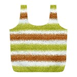 Metallic Gold Glitter Stripes Full Print Recycle Bags (L)  Front