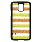 Metallic Gold Glitter Stripes Samsung Galaxy S5 Case (Black) Front