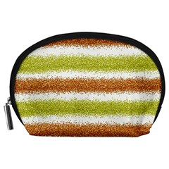 Metallic Gold Glitter Stripes Accessory Pouches (Large)