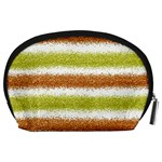 Metallic Gold Glitter Stripes Accessory Pouches (Large)  Back