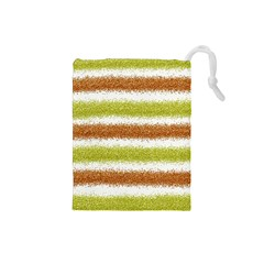 Metallic Gold Glitter Stripes Drawstring Pouches (Small)